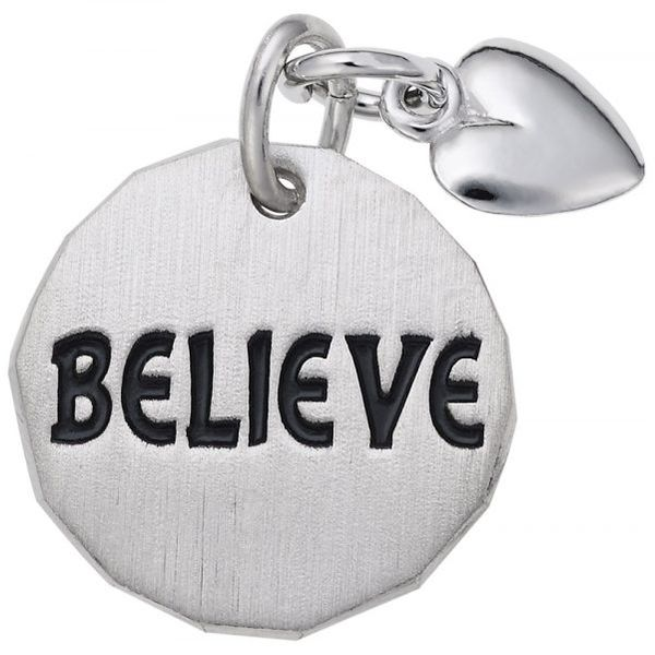 Sterling Silver Believe Tag with Heart Accent Charm Smith Jewelers Franklin, VA