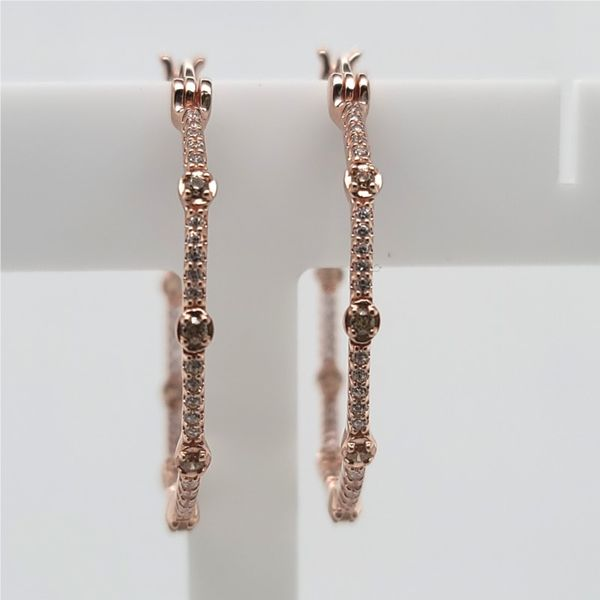 Elle Rodeo Drive Collection Sterling Silver Rose Gold Plated  CZ Hoop Earring Smith Jewelers Franklin, VA