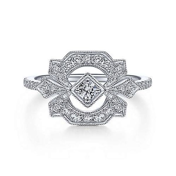 14kt White Gold and Diamond Art Deco Ring by Gabriel & Co. Stambaugh Jewelers Defiance, OH
