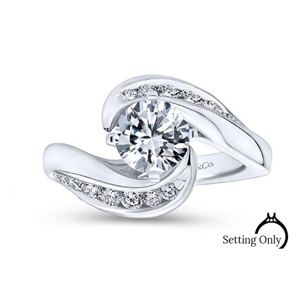 Gabriel & Co. White Gold Bypass Diamond Engagement Ring Stambaugh Jewelers Defiance, OH