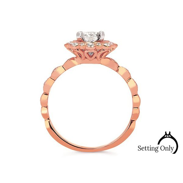 Forever Elegant 14kt Rose Gold Halo Engagement Ring Image 2 Stambaugh Jewelers Defiance, OH