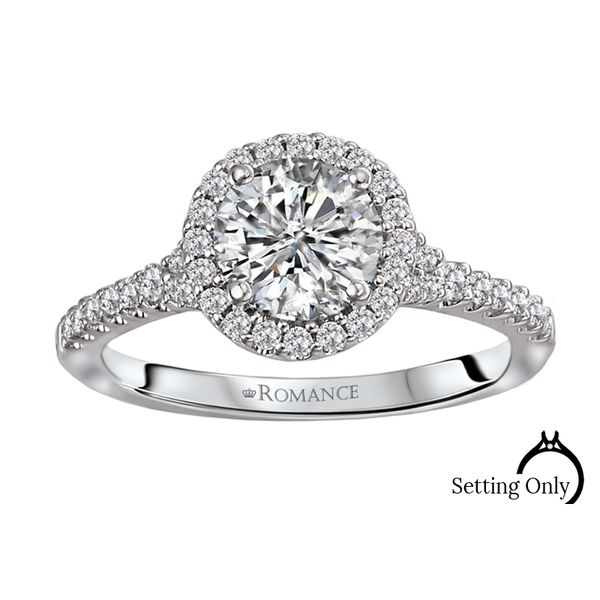 14kt White Gold Round Halo Engagement Ring by Romance Stambaugh Jewelers Defiance, OH
