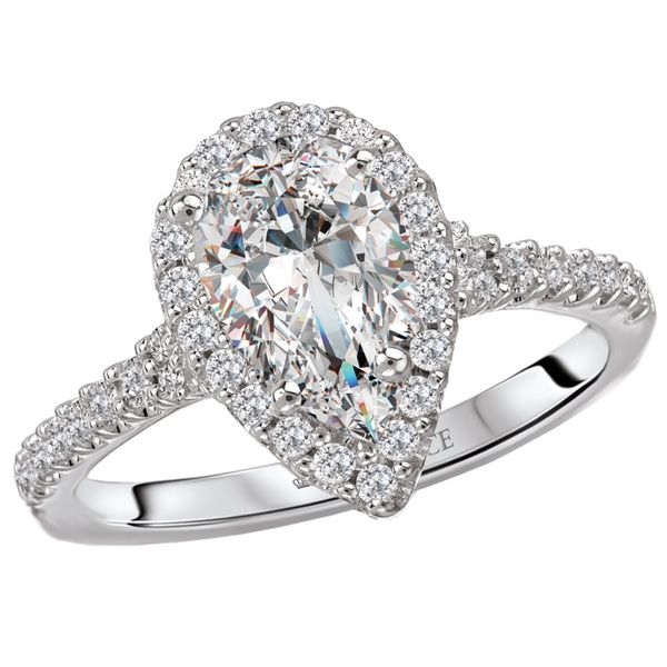 14kt White Gold Pear Halo Engagement Ring by Romance Image 2 Stambaugh Jewelers Defiance, OH