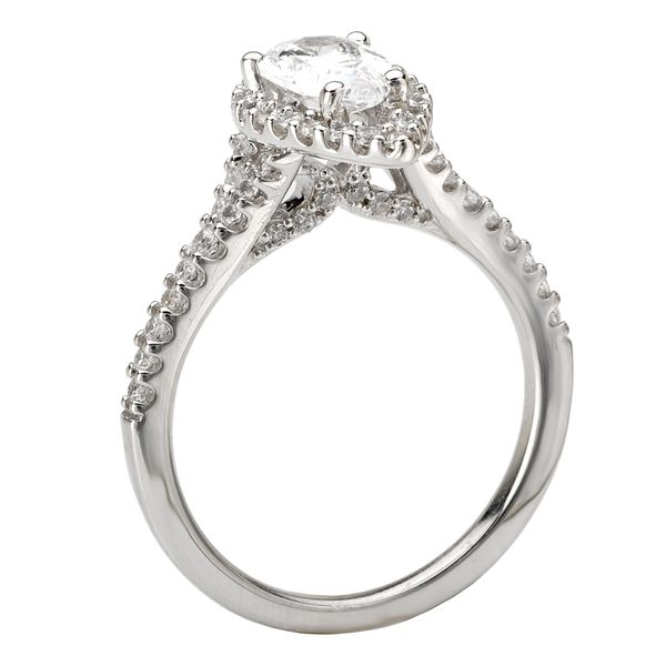 14kt White Gold Pear Halo Engagement Ring by Romance Image 3 Stambaugh Jewelers Defiance, OH