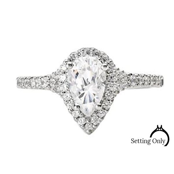 14kt White Gold Pear Halo Engagement Ring by Romance Stambaugh Jewelers Defiance, OH