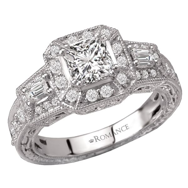 14kt White Gold Vintage Engagement Ring by Romance Image 2 Stambaugh Jewelers Defiance, OH