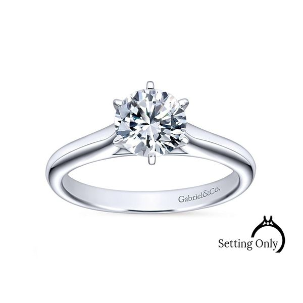 Allie14kt White Gold Solitaire Engagement Ring by Gabriel & Co Stambaugh Jewelers Defiance, OH