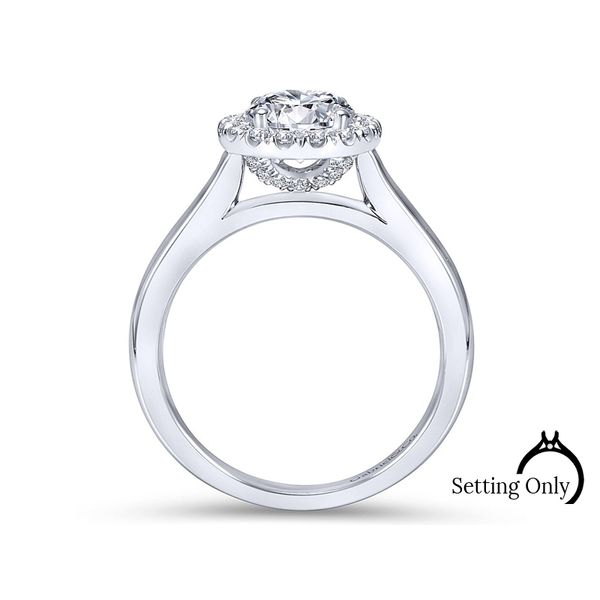 Stacy 14kt White Gold Halo Engagement Ring by Gabriel & Co. Image 2 Stambaugh Jewelers Defiance, OH