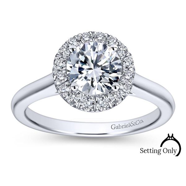 Stacy 14kt White Gold Halo Engagement Ring by Gabriel & Co. Stambaugh Jewelers Defiance, OH