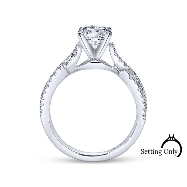 Kayla 14kt White Gold Twist Engagement Ring by Gabriel & Co Image 2 Stambaugh Jewelers Defiance, OH