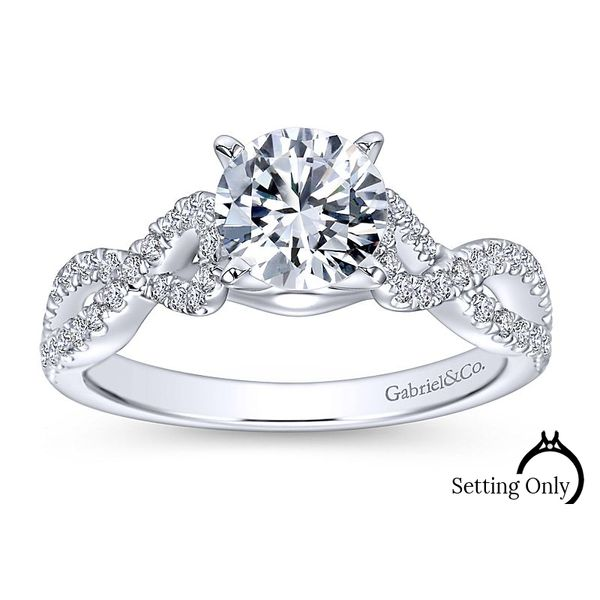 Kayla 14kt White Gold Twist Engagement Ring by Gabriel & Co Stambaugh Jewelers Defiance, OH
