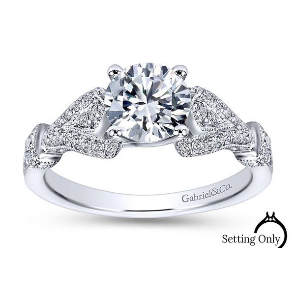 Lucille 14kt White Gold Victorian Engagement Ring by Gabriel & Co. Stambaugh Jewelers Defiance, OH