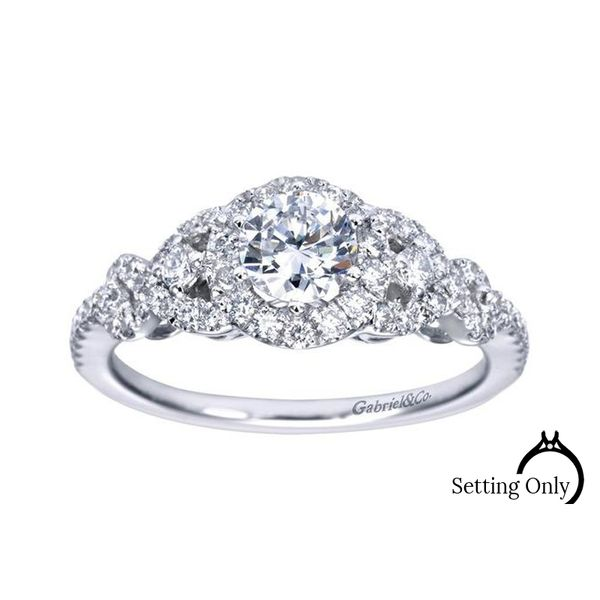 Kalinda 14kt White Gold Halo Engagement Ring by Gabriel & Co. Stambaugh Jewelers Defiance, OH