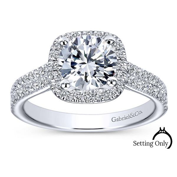 Brianna14kt White Gold Halo Engagement Ring by Gabriel & Co. Stambaugh Jewelers Defiance, OH