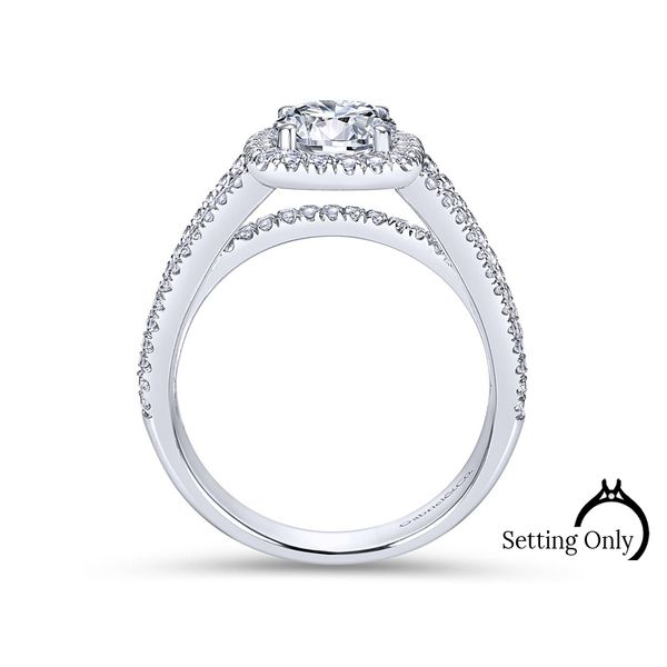 Hillary14kt White Gold Halo Engagement Ring by Gabriel & Co. Image 2 Stambaugh Jewelers Defiance, OH