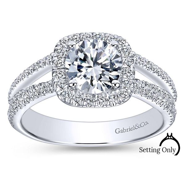 Hillary14kt White Gold Halo Engagement Ring by Gabriel & Co. Stambaugh Jewelers Defiance, OH