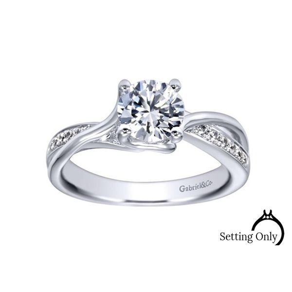 Aleesa 14kt White Gold Twist Engagement Ring by Gabriel & Co. Stambaugh Jewelers Defiance, OH