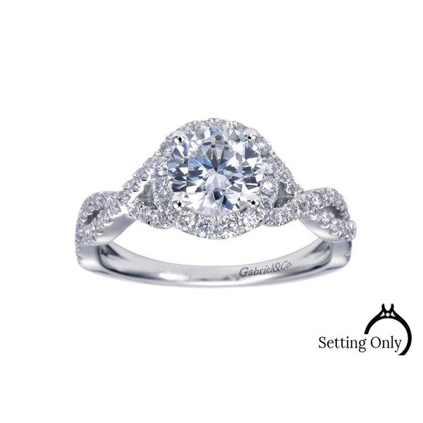 Marissa 14kt White Gold Halo Engagement Ring by Gabriel & Co. Stambaugh Jewelers Defiance, OH