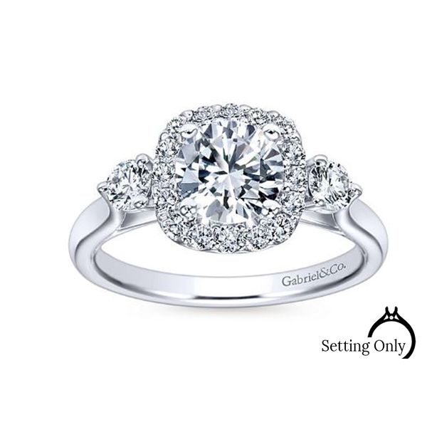 Martine 14kt White Gold Halo Engagement Ring by Gabriel & Co. Stambaugh Jewelers Defiance, OH