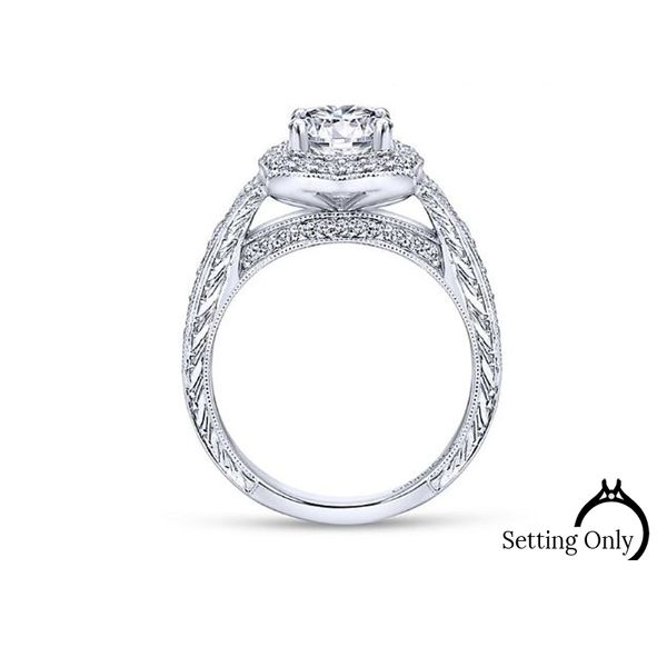 Theresa 14kt White Gold Vintage Halo Engagement Ring by Gabriel & Co. Image 2 Stambaugh Jewelers Defiance, OH
