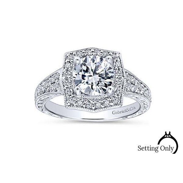 Theresa 14kt White Gold Vintage Halo Engagement Ring by Gabriel & Co. Stambaugh Jewelers Defiance, OH