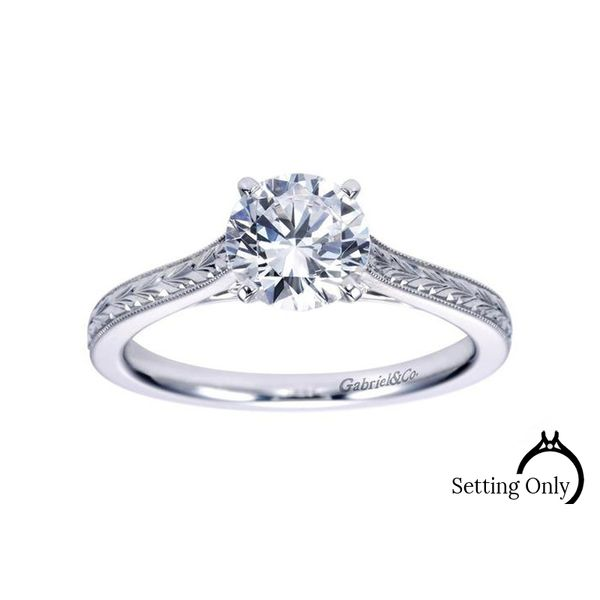 Alma 14kt White Gold Vintage Engagement Ring by Gabriel & Co. Stambaugh Jewelers Defiance, OH