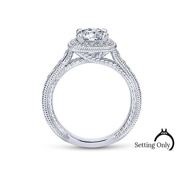 Beaufort 14kt White Gold Halo Engagement Ring by Gabriel & Co. Image 2 Stambaugh Jewelers Defiance, OH
