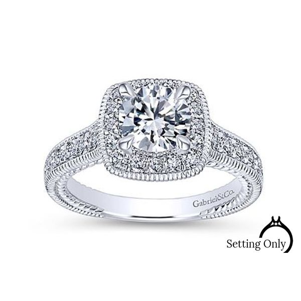 Beaufort 14kt White Gold Halo Engagement Ring by Gabriel & Co. Stambaugh Jewelers Defiance, OH