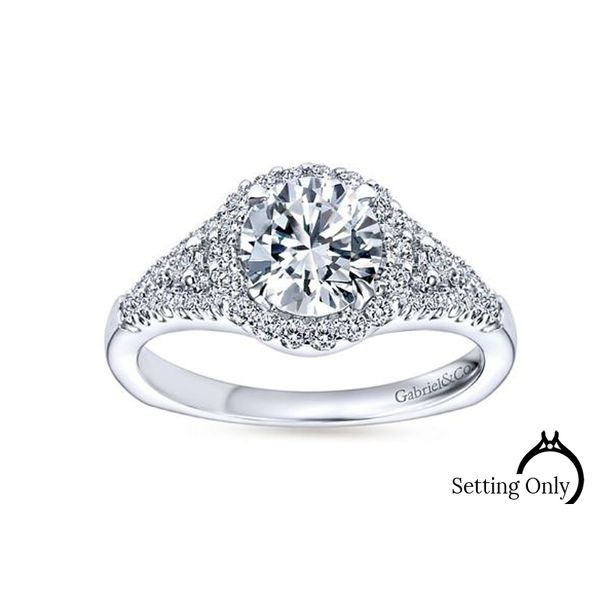 Reagan 14kt White Gold Halo Engagement Ring by Gabriel & Co. Stambaugh Jewelers Defiance, OH