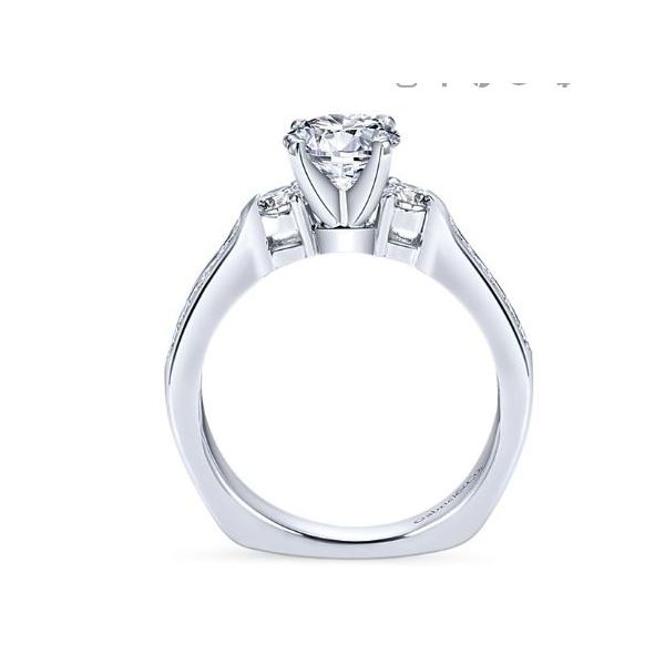Julia 14kt White Gold 3-Stone Engagement Ring by Gabriel & Co. Image 2 Stambaugh Jewelers Defiance, OH