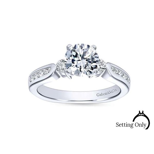 Julia 14kt White Gold 3-Stone Engagement Ring by Gabriel & Co. Stambaugh Jewelers Defiance, OH