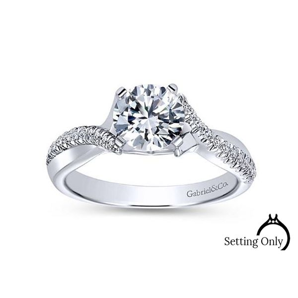 Scout 14kt White Gold Twist Engagement Ring by Gabriel & Co. Stambaugh Jewelers Defiance, OH