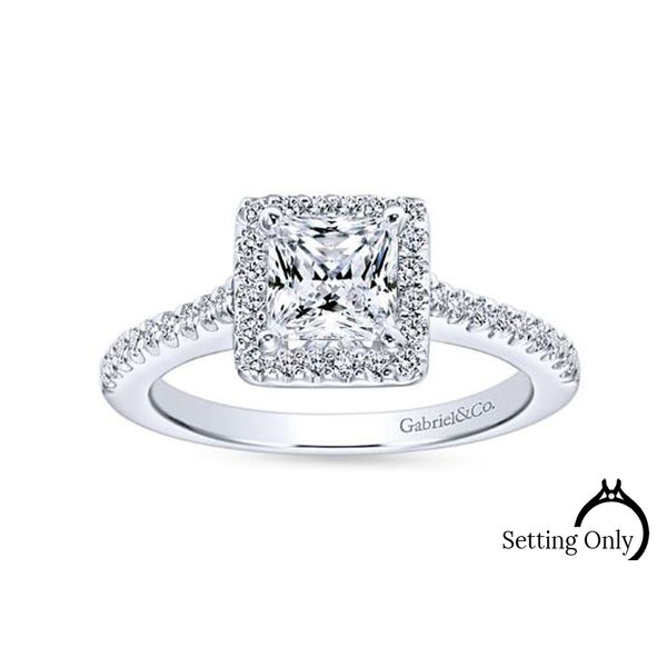 Lindsey 14kt White Gold Halo Engagement Ring by Gabriel & Co. Stambaugh Jewelers Defiance, OH