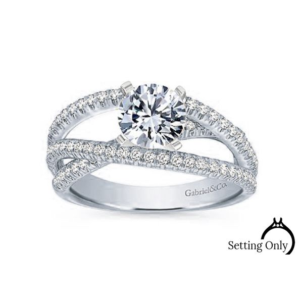 Mackenzie 14kt White Gold Free Form Engagement Ring by Gabriel & Co. Stambaugh Jewelers Defiance, OH