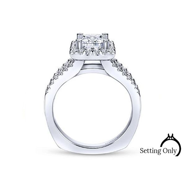 Drew14kt White Gold Halo Engagement Ring by Gabriel & Co. Image 2 Stambaugh Jewelers Defiance, OH