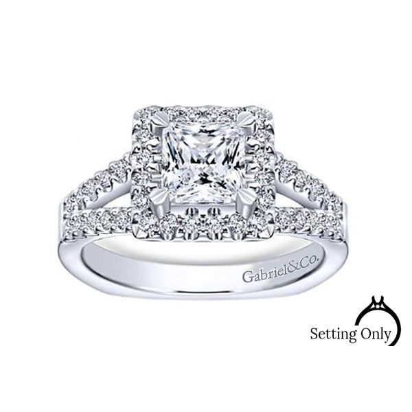 Drew14kt White Gold Halo Engagement Ring by Gabriel & Co. Stambaugh Jewelers Defiance, OH