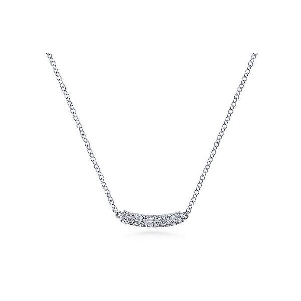 14k White Gold Diamond Curved Bar Necklace Stambaugh Jewelers Defiance, OH