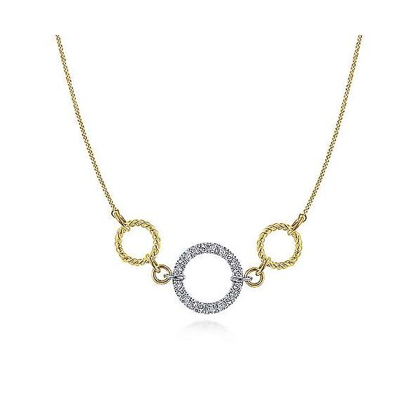 14K Yellow-White Gold Twisted Rope and Pavé Diamond Circle Necklace Stambaugh Jewelers Defiance, OH