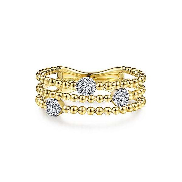 14K Yellow Gold Three Row Beaded Ring with Pavé Diamond Cluster Stations by Gabriel & Co. Stambaugh Jewelers Defiance, OH