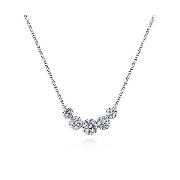 14K White Gold Round Diamond Halo Necklace by Gabriel & Co. Stambaugh Jewelers Defiance, OH