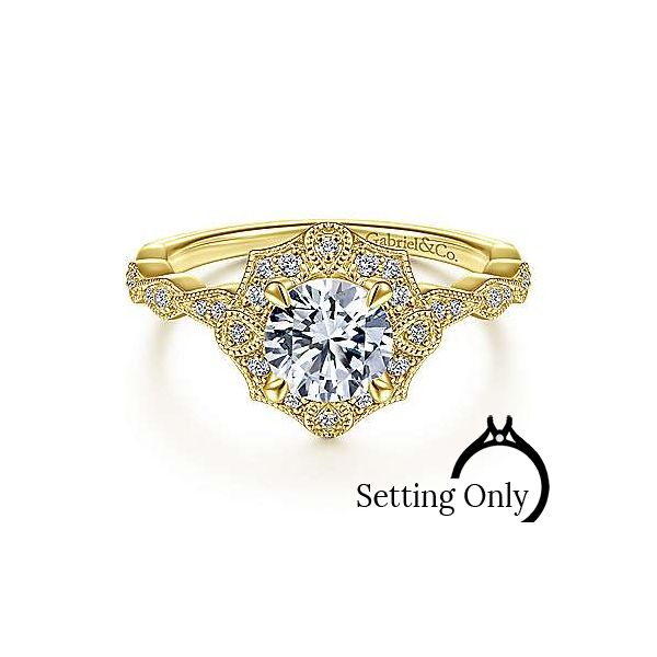Unique 14K Yellow Gold Art Deco Halo Diamond Engagement Ring Stambaugh Jewelers Defiance, OH