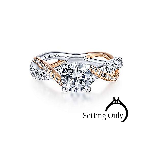 14K White-Rose Gold Round Diamond Twisted Engagement Ring Stambaugh Jewelers Defiance, OH