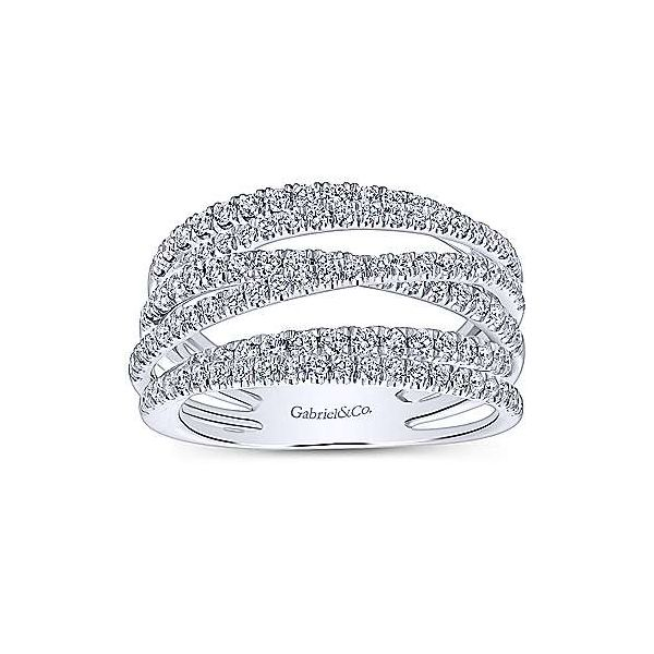 14k White Gold Layered Wide Band Diamond Ring Stambaugh Jewelers Defiance, OH