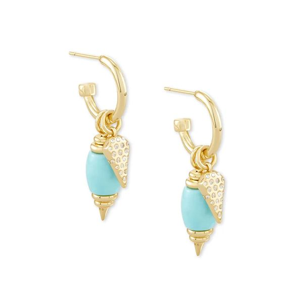 Demi Gold Huggie Earrings In Light Blue Magnesite by Kendra Scott Stambaugh Jewelers Defiance, OH