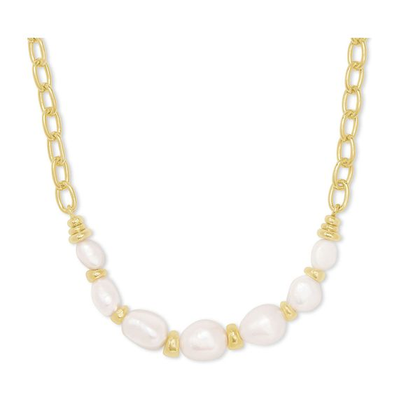 Demi Gold Chain Necklace In White Baroque Pearl by Kendra Scott Stambaugh Jewelers Defiance, OH