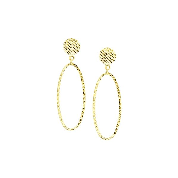 Yellow Gold Disk Earrings With Oval Dangle SVS Fine Jewelry Oceanside, NY