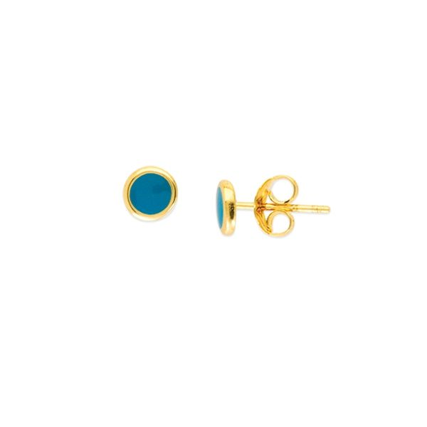 Yellow Gold Turquoise Enamel Round Stud Earrings SVS Fine Jewelry Oceanside, NY