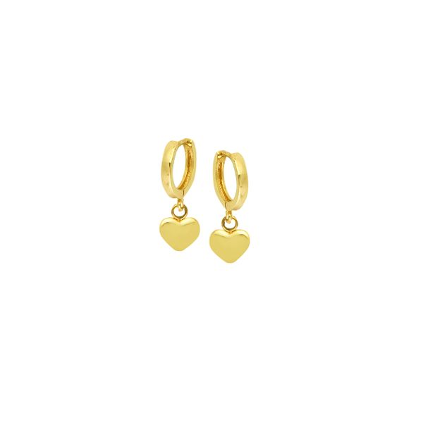 14K Yellow Gold 10 mm Baby Hoops With Dangle Hearts SVS Fine Jewelry Oceanside, NY