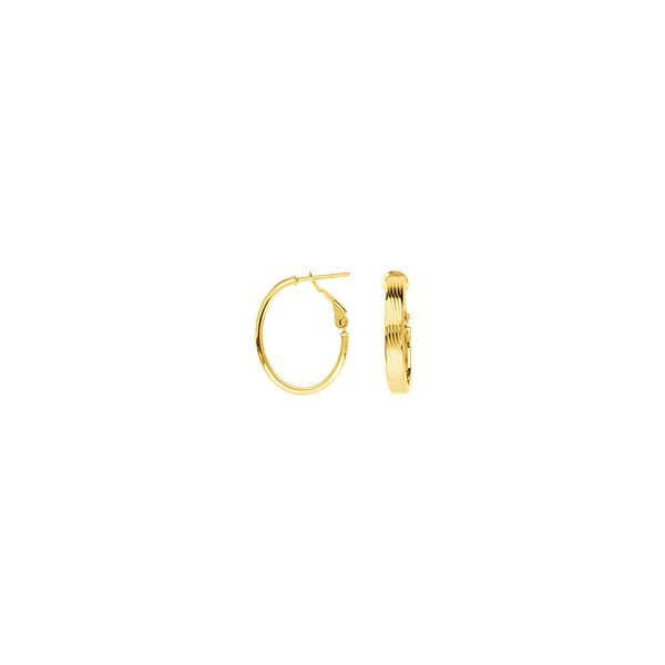 14K Yellow Gold Ribbed Oval Hoop Earrings SVS Fine Jewelry Oceanside, NY