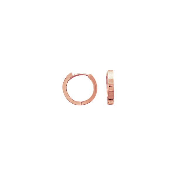 14K Rose Gold 11 mm Square Shape Huggies SVS Fine Jewelry Oceanside, NY